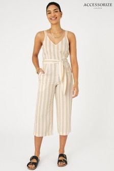 Accessorize Cream Stripe Belted Jumpsuit