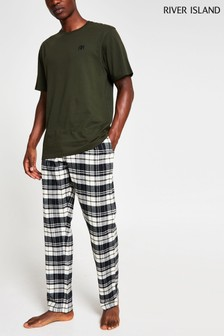 River Island Khaki Check Pyjama Set