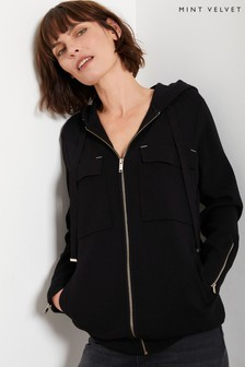 Mint Velvet Black Zip Hooded Cardigan