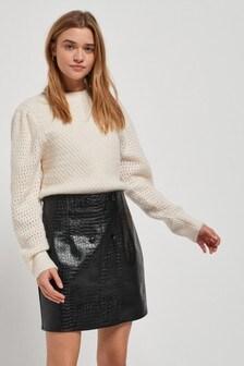 Полиуретановая юбка с тиснением под крокодиловую кожу