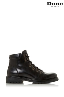 Dune London Cache Black Hi Shine Lace-Up Hiker Boots