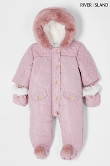 River Island Pink Light Hooded Pom Snowsuit