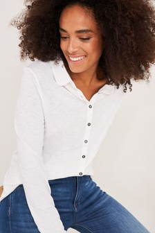 White Stuff White Pom Trim Jersey Shirt