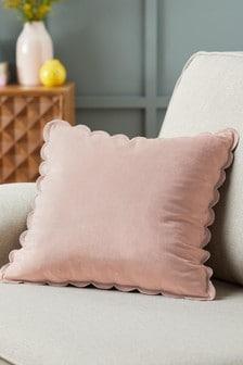 Pink Scallop Edge Velvet Small Square Cushion