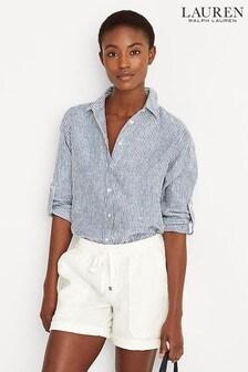 חולצה מפשתן עם פסים של Lauren Ralph Lauren® דגם Karrie בכחול