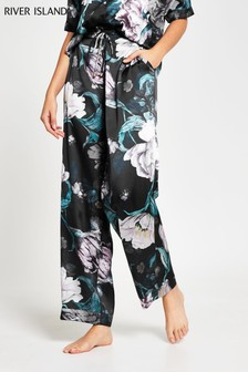 River Island Black Floral Print Pyjama Bottoms