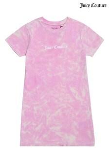 فستان تيشرت وردي صباغة بالربط من Juicy Couture