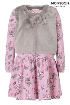 Monsoon Purple Baby Jersey Dress And Gilet