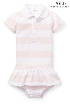 שמלת רוגבי עםפסים בלבן וורוד שלRalph Lauren