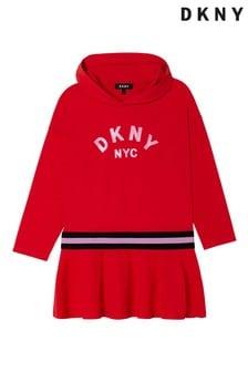 فستان بقلنسوة حمراء بشعار لامع من DKNY