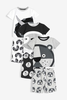 3 Pack Animal Face Short Pyjamas (9mths-8yrs)