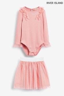 סטמבד נמתחבינוני וחצאיתרשת שלRiver Islandבצבעורוד