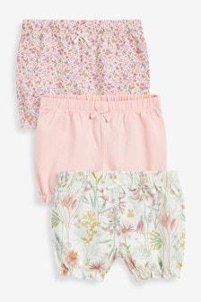 Set van 3 shorts met bloemenprint (0 mnd-3 jr)