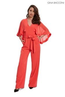Gina Bacconi Red Lydia Crepe And Chiffon Jumpsuit (485361)   $413