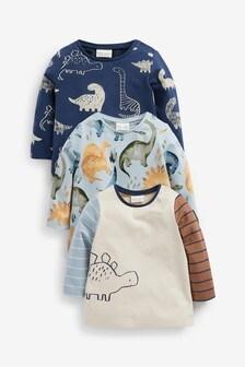 3 Pack Dino Long Sleeve T-Shirts (0mths-3yrs)
