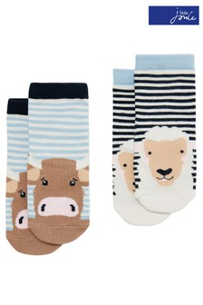Joules Blue Neat Feet Character Baby Socks Two Pack