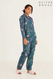 Oliver Bonas Milky Way Sparkle Print Navy Blue Pyjama Set