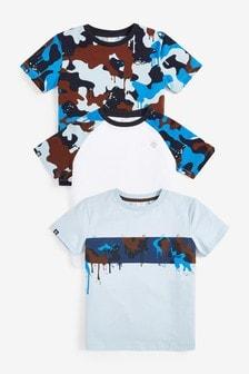 Zestaw 3 kamuflażowych koszulek w bloki kolorów (3-16 lat)