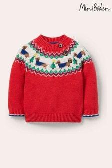 Boden Red FairIsle Knitted Jumper