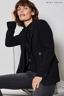 Mint Velvet Black Sequin Polo Neck Top