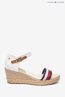 Tommy Hilfiger Natural Shimmery Ribbon Mid Wedge Sandals