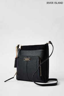 River Island Black Zip Pocket Messenger Bag