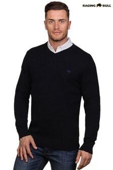 Темно-синий фирменный свитер с V-образным вырезомRaging Bull