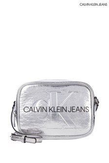 Calvin Klein Silver Monogram Camera Bag