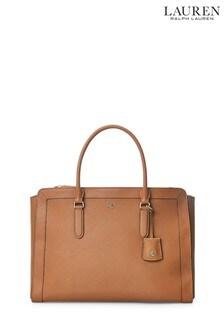 Large sac à main Lauren Ralph Lauren en cuir fauve