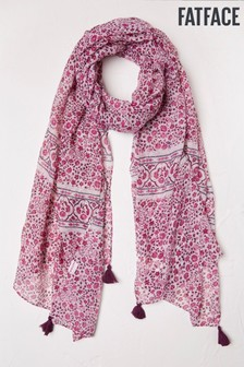 FatFace Natural Berry Woodblock Scarf