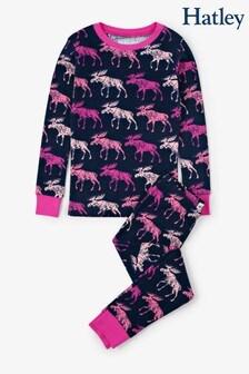 Hatley Kinder Cottage Pyjamaset mit Elch, Blau