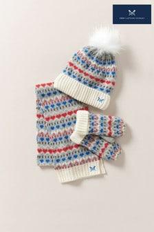 Crew Clothing Company藍色蘇格蘭費爾島圖案帽、手套和圍巾套裝