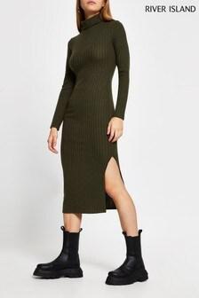 שמלת מידי חמה עם צווארון גולף בירוק כהה שלRiver Island