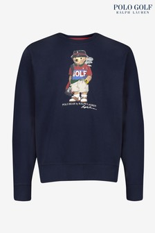 Polo Golf by Ralph Lauren Navy Bear Logo Long Sleeve Knit Top