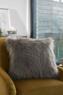 French Grey Arctic Cosy Faux Fur Square Cushion