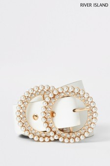 River Island White Pearl And Diamanté Double Ring