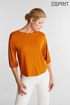 חולצת טי קרפ של Esprit עם שרוולי 3/4 בצבע חום