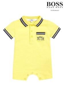 BOSS Baby Yellow Logo Polo Romper