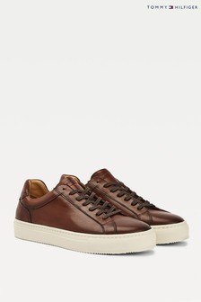 Tommy Hilfiger Brown Premium Leather Cupsole Trainers