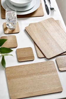 Set of 4 Wood Veneer Placemats and Coasters