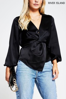 River Island Black Twist Front Shirt