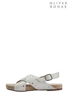 Oliver Bonas White Studded White Espadrille Sandals
