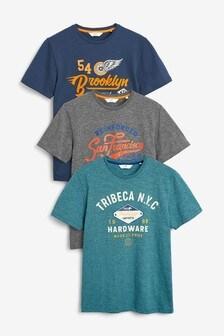 3er Pack Grafische T-Shirts in Regular Fit