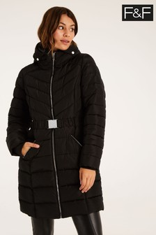 F&F Long Padded Belted Coat