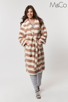 M&Co Cream Long Stripe Dressing Gown