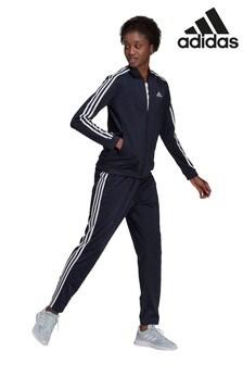 adidas Navy Essentials 3 Stripe Tracksuit