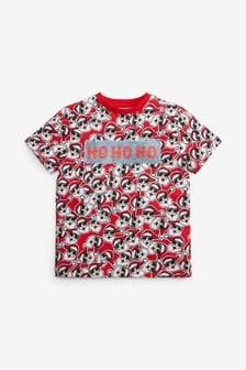 Santa All Over Print Flippy Sequin T-Shirt (3-16yrs)
