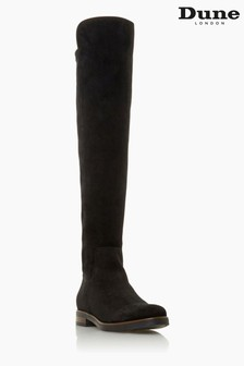 Dune London Tropic Black Over The Knee Suede Stretch Boots