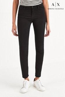 Armani Exchange黑色超級窄管牛仔褲