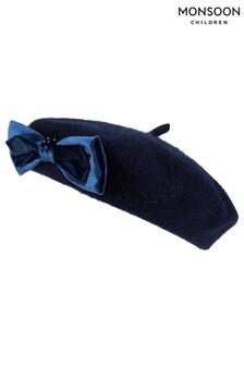 Синий берет с бархатным бантом и искусственным жемчугом Monsoon Jaime